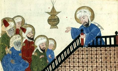 Illustration showing Mohammed (on the right) preaching his final sermon to his earliest converts, on Mount Ararat near Mecca; taken from a medieval-era manuscript of the astronomical treatiseThe Remaining Signs of Past Centuries by the Persian scholar al-Biruni; currently housed in the collection of the Bibliotheque Nationale, Paris (Manuscrits Arabe 1489 fol. 5v)