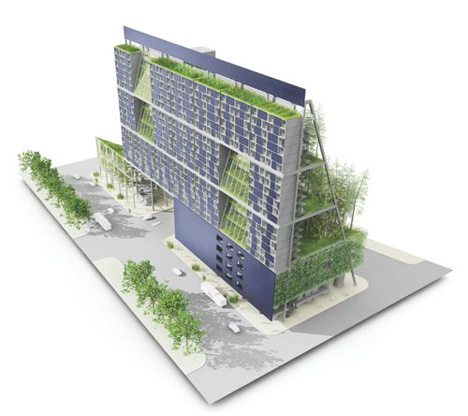 Shipping container vertical farm.