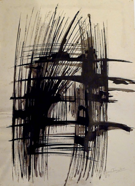 Indian ink on paper. Signed 'Bruce Taylor', dated 1959. One of several works on paper that Taylor made for or in parallel with sculptures and which he exhibited, alongside his sculptures: at the Penwith Society (1957), Drian Gallery (1958) and in the Arts Council touring exhibitions (1957, 1960)