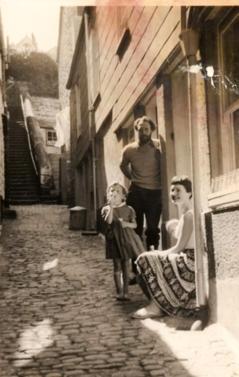 Bruce, his second wife Jennifer and their two daughters in St. Ives, circa approximate 1957.