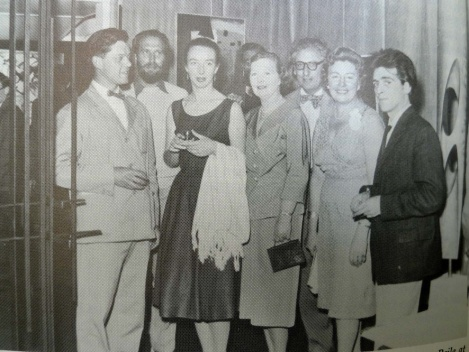 At the Drian Gallery, 30th June 1958, (second left) with, from left to right: Roger Leigh, Gwen Leitch, Misomé Peile, Denis Mitchell (spectacles), Halima Nalecz and Brian Wall.