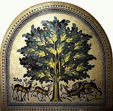 Floor mosaic of the Tree of Life, from the 8th century palace of the Caliph Hisham, near Jericho